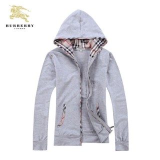 Burberry Gris Manches Longues Uni Capuche Veste Femme Zippe Sweat Paris Madeleine