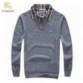 Burberry Pullover Manches Longue Gris Pull Homme Uni Maquillage