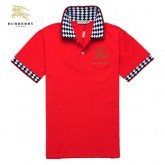 Burberry Rouge T Shirt Homme Uni Polo Manches Courte Outlet Store Online