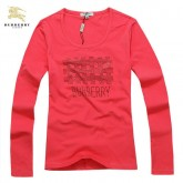 Burberry Uni Manches Longue Rouge Col Rond T Shirt Femme Montpellier