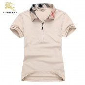 Burberry Lille Polo Manches Courte Beige Uni T Shirt Femme Online Store
