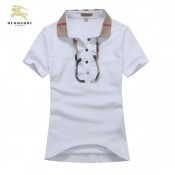 Burberry Lille Polo Uni T Shirt Femme Manches Courte Blanc Imper Occasion