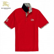 Burberry Lille T Shirt Homme Manches Courte Polo Rouge Logo Outlet