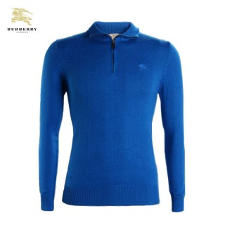 Burberry 2017 Bleu Polo Pull Homme Manches Longue Pullover Uni Prix Foulard