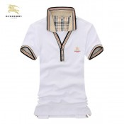 Burberry Blanc T Shirt Homme Uni Manches Courte Polo Occasion