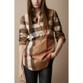 Burberry Manches Longue Marron Chemise Femme Magasin France