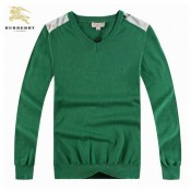 Burberry Pull Homme Vert Pullover Col V Manches Longue Uni Foulard
