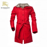 Burberry Rouge Uni Manches Longues Manteau Zippe Veste Femme Couble Col Site Officiel