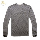 Burberry Uni Manches Longue Pull Homme Pullover Gris Col Rond En Solde