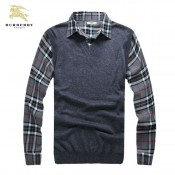 Burberry Manches Longue Pullover Polo Pull Homme Gris Imper Occasion