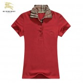 Burberry T Shirt Femme Uni Rouge Polo Manches Courte Outlet Paris