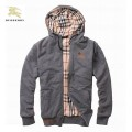 Burberry Veste Homme Capuche Uni Sweat Manches Longues Gris Zippe Magasin France