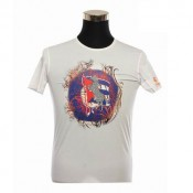 Burberry Blanc Col Rond Manches Courte T Shirt Homme Impression Graphique Trench Soldes