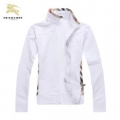 Burberry Blanc Manches Longues Uni Sweat Zippe Col Montant Veste Femme Magasin Paris