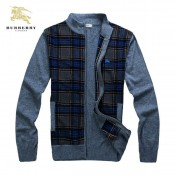 Burberry Col Montant Bleu Pull Homme Manches Longue Cardigans Magasin Lyon