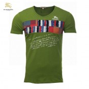 Burberry Impression Graphique Vert Manches Courte Col V T Shirt Homme Magasin France
