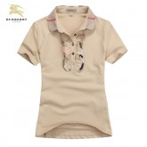 Burberry Uni Beige Polo T Shirt Femme Manches Courte Outlet