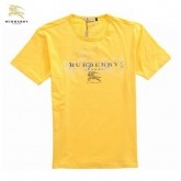 Burberry T Shirt Homme Manches Courte Col Rond Uni Jaune Foulard Solde