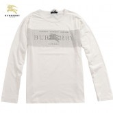 Burberry Blanc Manches Longue T Shirt Homme Col Rond Galeries Lafayette
