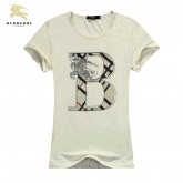 Burberry Blanc T Shirt Femme Manches Courte Col Rond Uni Maquillage