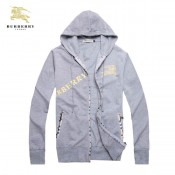 Burberry Capuche Uni Zippe Gris Veste Homme Sweat Manches Longues Paris Madeleine