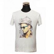 Burberry 2017 Blanc Serigraphie Manches Courte T Shirt Homme Col Rond Maquillage