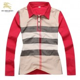 Burberry Manches Longue T Shirt Femme Polo Rayures Rouge Petit Foulard