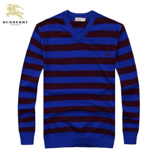 Burberry Rayures Pull Homme Col V Noir Pullover Manches Longue Shop Online