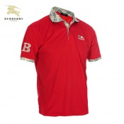 Burberry T Shirt Homme Uni Polo Rouge Manches Courte Foulard Soie