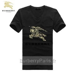 Burberry Col V Manches Courte T Shirt Homme Noir Trench Soldes