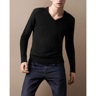 Burberry Col V Pull Homme Pullover Noir Manches Longue Factory Outlet