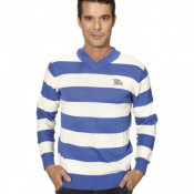Burberry Pull Homme Pullover Bleu Col V Trench Occasion