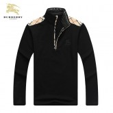 Burberry Col Montant Sweat Uni Veste Homme Noir Manches Longues Official Website