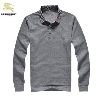 Burberry Uni Pull Homme Pullover Gris Polo Manches Longue Magasin Marseille