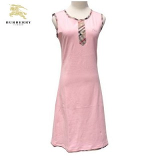 Burberry Manches Courte T Shirt Femme Uni Col Rond Rose Robe Fille