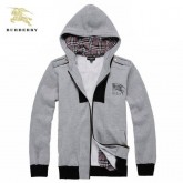 Burberry Veste Homme Manches Longues Zippe Sweat Capuche Gris Outlet Online