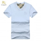 Burberry Blanc Manches Courte Col V T Shirt Homme Uni Outlet Store