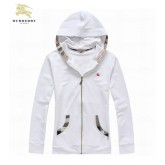 Burberry Veste Femme Blanc Uni Capuche Manches Longues Sweat Zippe Cravate