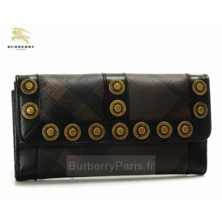 Burberry Clutch et Sacs Sling Smoked Check Portefeuille Femme Marron Outlet