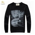 Burberry Pull Homme Manches Longue Noir Col Rond Pullover Destockage