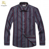 Burberry Rouge Manches Longue Chemise Homme Rayures Online