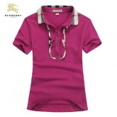 Burberry Manches Courte Uni T Shirt Femme Polo Rouge Trench Occasion