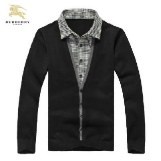 Burberry Noir Manches Longue Polo Pullover Pull Homme Porte Feuille