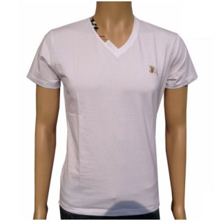 Burberry Uni Blanc T Shirt Homme Manches Courte Col V Outlet Paris
