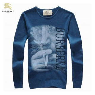 Burberry Col Rond Bleu Manches Longue Uni Pull Homme Pullover Foulard Solde