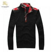 Burberry Noir Col Montant Pull Homme Uni Pullover Portefeuille