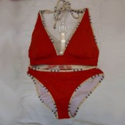 Burberry Bikini Rouge Uni Maillot bain Boutique Paris