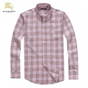 Burberry Manches Longue Rose Chemise Homme Impermeable