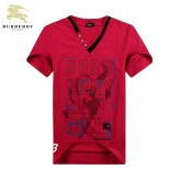 Burberry Manches Courte Col V Rouge T Shirt Homme Logo Prix Foulard