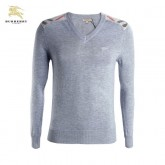 Burberry Manches Longue Pullover Gris Uni Pull Homme Outlet Londres